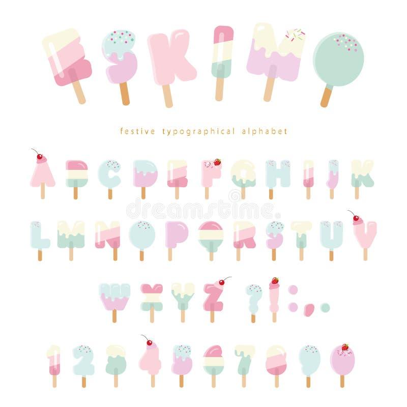 Των Εσκιμώων πηγή παγωτού Ζωηρόχρωμοι επιστολές και αριθμοί Popsicle για το θερινό σχέδιο Ρόδινα και μπλε χρώματα κρητιδογραφιών  απεικόνιση αποθεμάτων