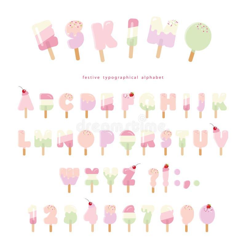 Των Εσκιμώων πηγή παγωτού Οι ζωηρόχρωμοι επιστολές και οι αριθμοί Popsicle μπορούν να χρησιμοποιηθούν για το θερινό σχέδιο Απομον ελεύθερη απεικόνιση δικαιώματος