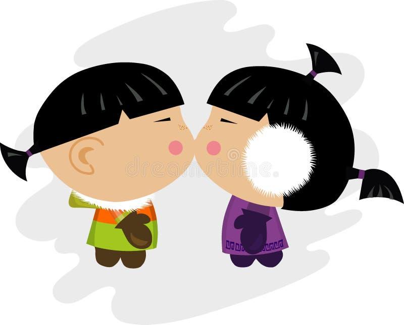 των Εσκιμώων φιλί απεικόνισης απεικόνιση αποθεμάτων