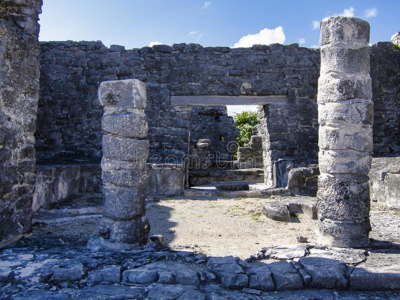 Των Μάγια καταστροφές Tulum - του Μεξικού στοκ φωτογραφία