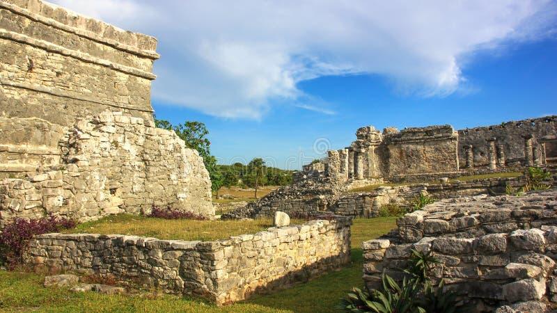 Των Μάγια περιοχή παγκόσμιων κληρονομιών της ΟΥΝΕΣΚΟ καταστροφών του Μεξικού Quintana Roo Tulum στοκ φωτογραφία με δικαίωμα ελεύθερης χρήσης