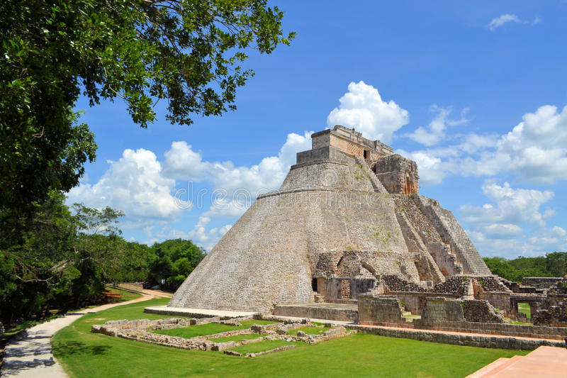 Των Μάγια πυραμίδα Uxmal Anicent Yucatan, Μεξικό στοκ εικόνες με δικαίωμα ελεύθερης χρήσης