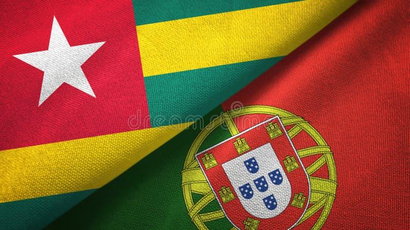 Τόγκο και Πορτογαλία δύο υφαντικό ύφασμα σημαιών, σύσταση υφάσματος ελεύθερη απεικόνιση δικαιώματος