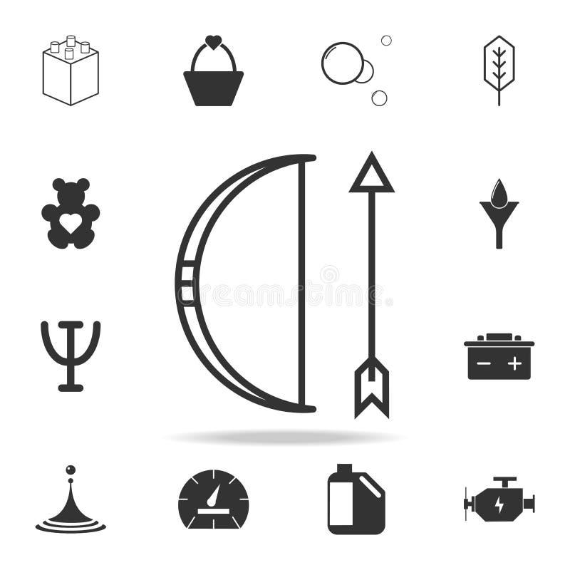 Τόξο και εικονίδιο βελών Λεπτομερές σύνολο εικονιδίων και σημαδιών Ιστού Γραφικό σχέδιο ασφαλίστρου Ένα από τα εικονίδια συλλογής διανυσματική απεικόνιση