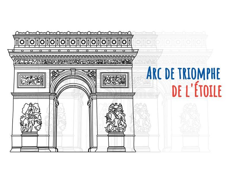 Τόξων de triomphe de λ ` χέρι Ã ‰ που σύρεται toile, σημάδι εδάφους ελεύθερη απεικόνιση δικαιώματος