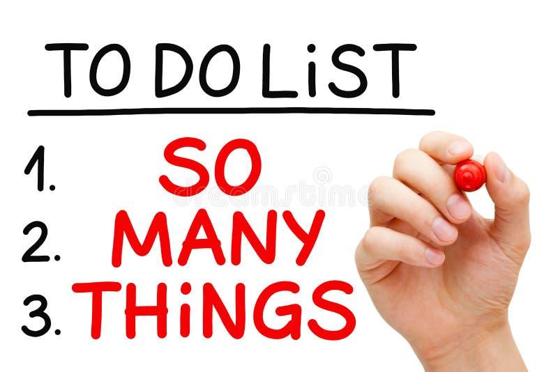Τόσα πολλά πράγματα για να κάνει τον κατάλογο στοκ φωτογραφία με δικαίωμα ελεύθερης χρήσης