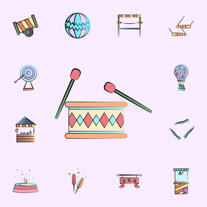 τύμπανο με χρωματισμένο το chopsticks εικονίδιο καθολικό εικονιδίων τσίρκων που τίθεται για τον Ιστό και κινητό απεικόνιση αποθεμάτων