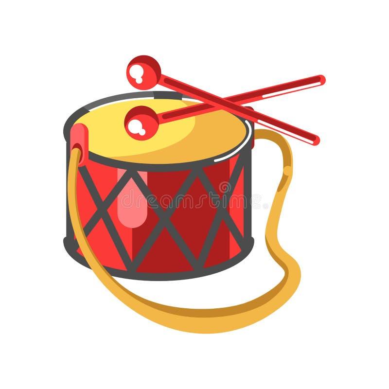 Τύμπανο μωρών με διακόσμηση διαμαντιών και δύο κόκκινα ραβδιά διανυσματική απεικόνιση