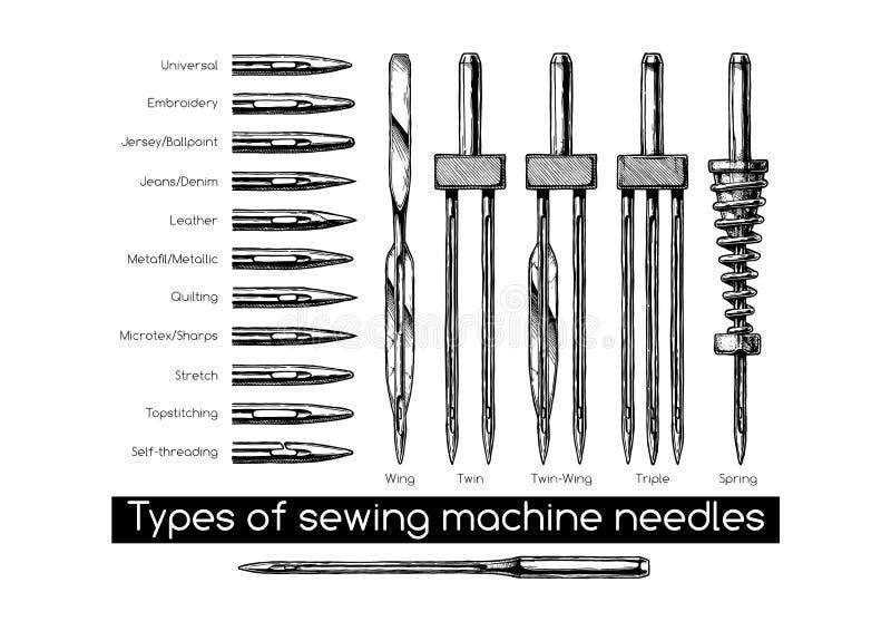 Τύποι βελόνων ράβοντας μηχανών διανυσματική απεικόνιση