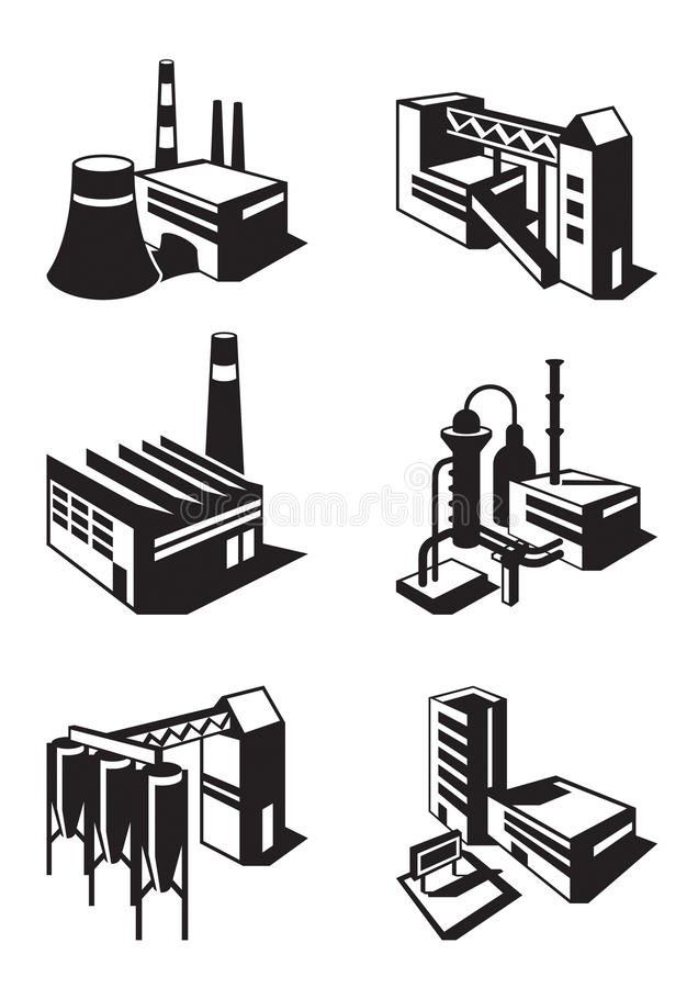 Τύποι βιομηχανικών κατασκευών απεικόνιση αποθεμάτων