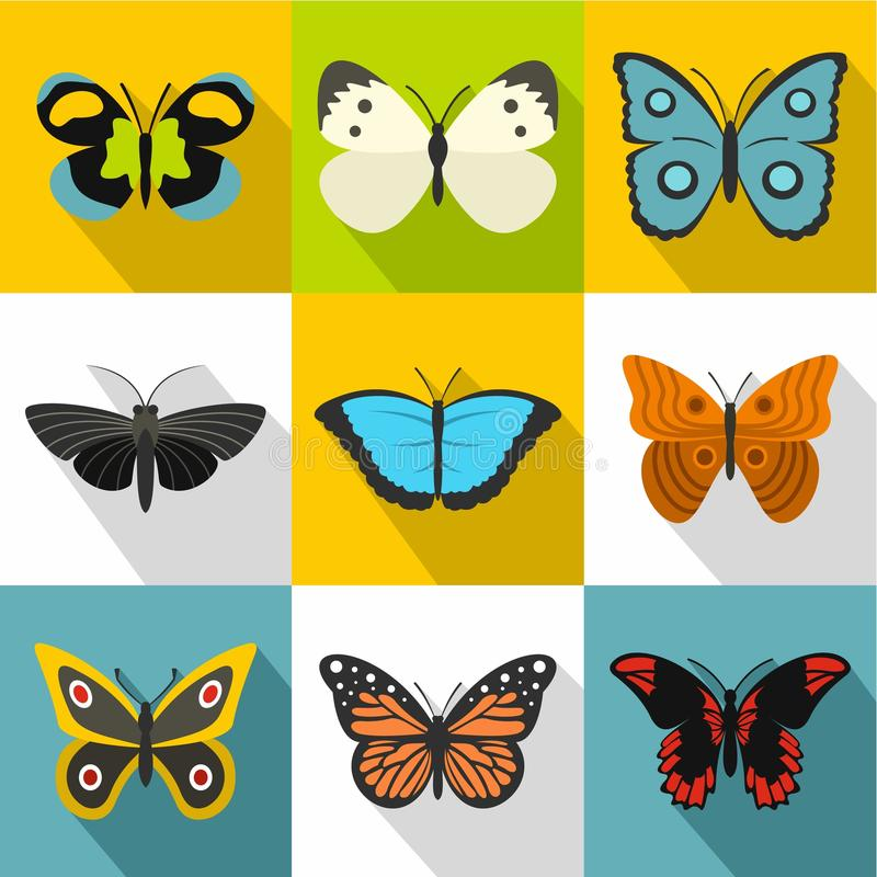 Τύποι εικονιδίων πεταλούδων καθορισμένων, επίπεδο ύφος διανυσματική απεικόνιση