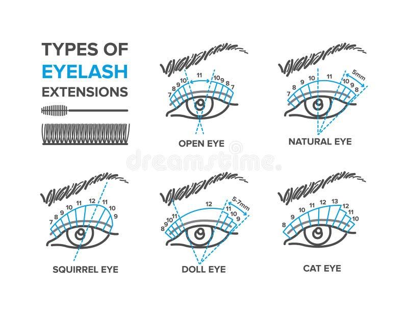 Τύποι επεκτάσεων eyelash ελεύθερη απεικόνιση δικαιώματος