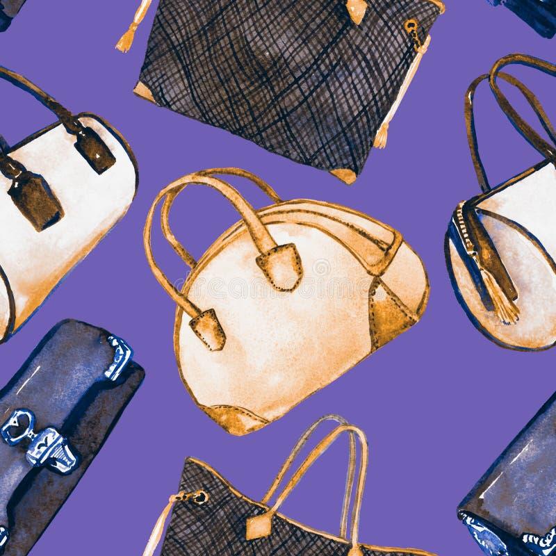 Τύποι κυριών τσαντών: συμπλέκτης, βαρέλι, tote και τσάντα μπόουλινγκ, άνευ ραφής σχέδιο στο μαλακό πορφυρό ιώδες υπόβαθρο απεικόνιση αποθεμάτων