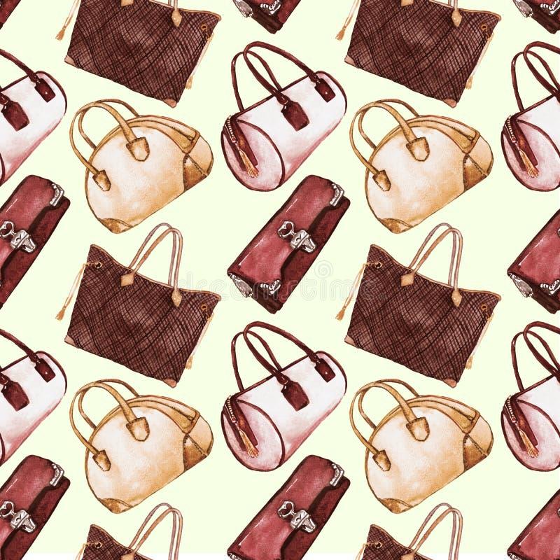 Τύποι κυριών τσαντών: συμπλέκτης, βαρέλι, tote και τσάντα μπόουλινγκ, παλέτα χρώματος σεπιών, άνευ ραφής σχέδιο στο μαλακό υπόβαθ ελεύθερη απεικόνιση δικαιώματος