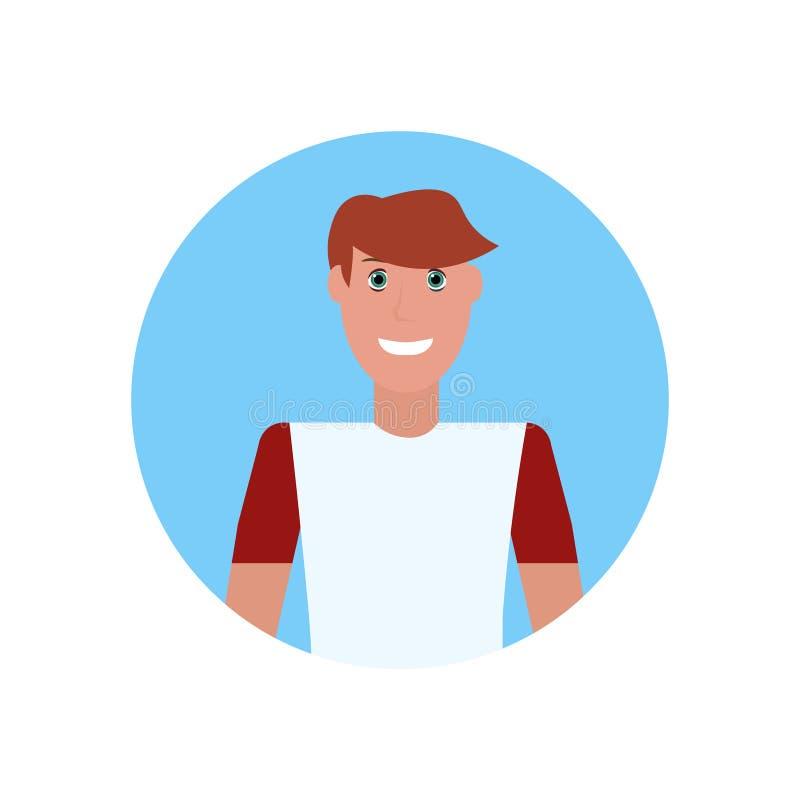 Τύπος ειδώλων προσώπου νεαρών άνδρων στο αρσενικό πορτρέτο χαρακτήρα κινουμένων σχεδίων έννοιας θερινών διακοπών μπλουζών που απο διανυσματική απεικόνιση
