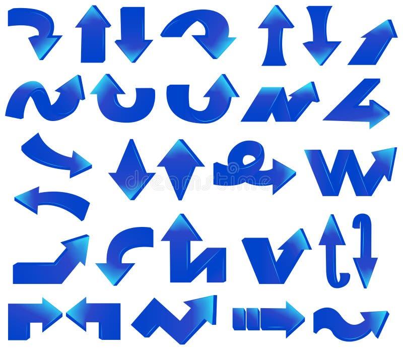 Τύπος διάφορου μπλε συνόλου βελών διανυσματική απεικόνιση