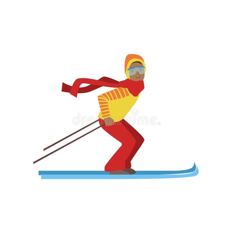 Τύπος στην απεικόνιση χειμερινού αθλητισμού σκι βουνών διανυσματική απεικόνιση