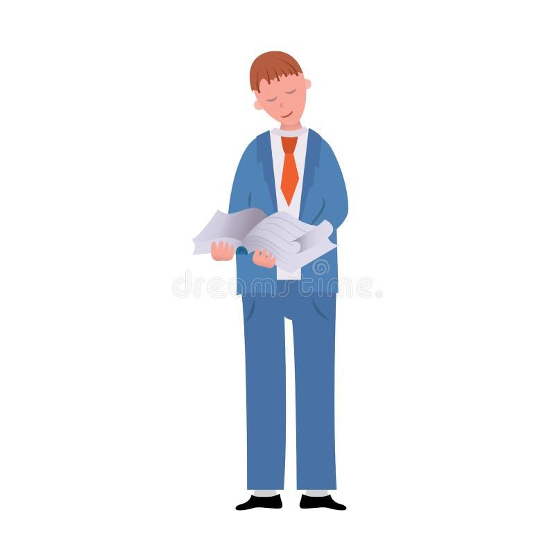 Τύπος στο κοστούμι που διαβάζει ένα βιβλίο Επίπεδη διανυσματική απεικόνιση σχεδίου η ανασκόπηση απομόνωσε το λευκό διανυσματική απεικόνιση