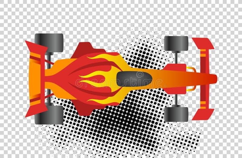 Τύπος 1 τοπ άποψη αθλητικών διανυσματική εικονιδίων ραλιών Κόκκινο όχημα πρωτοπόρων ταχύτητας αυτόματο f1 Μεταφορά παιχνιδιών συν διανυσματική απεικόνιση