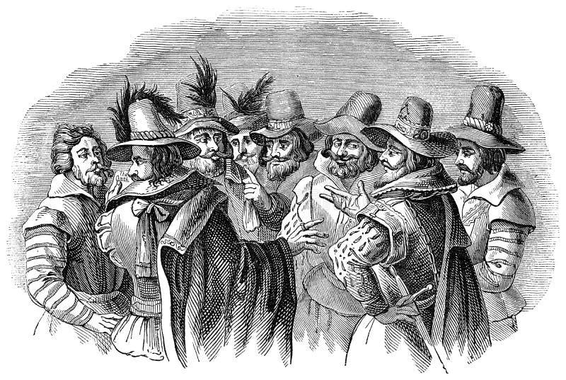 Τύπος Fawkes και οι συντροφικοί συνωμότες του διανυσματική απεικόνιση