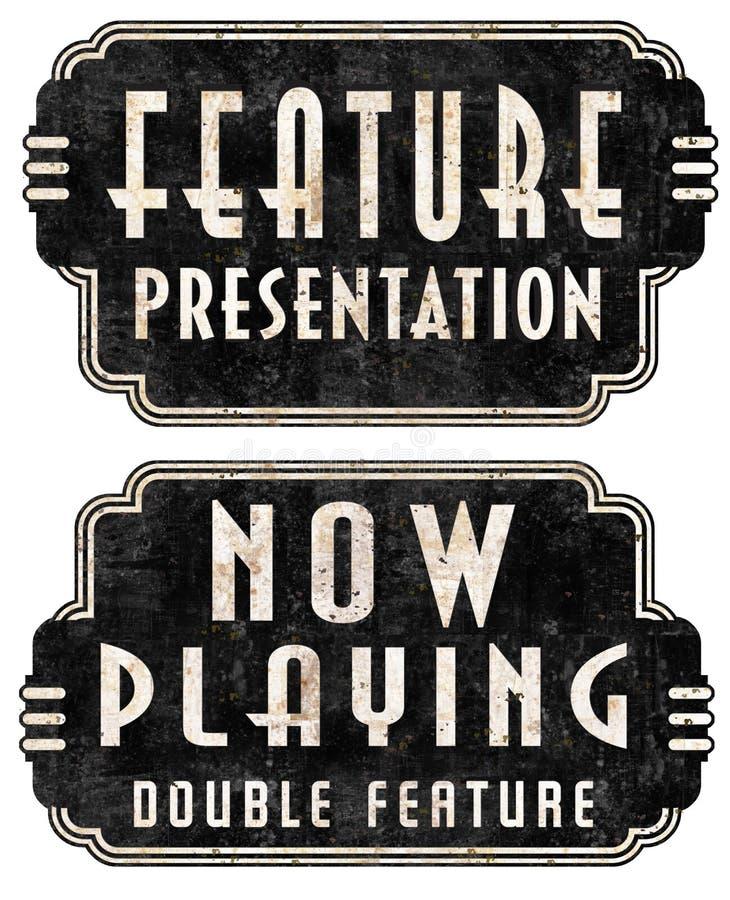 Τώρα παίζοντας σημάδια σκηνών κινηματογράφων παρουσίασης χαρακτηριστικών γνωρισμάτων απεικόνιση αποθεμάτων