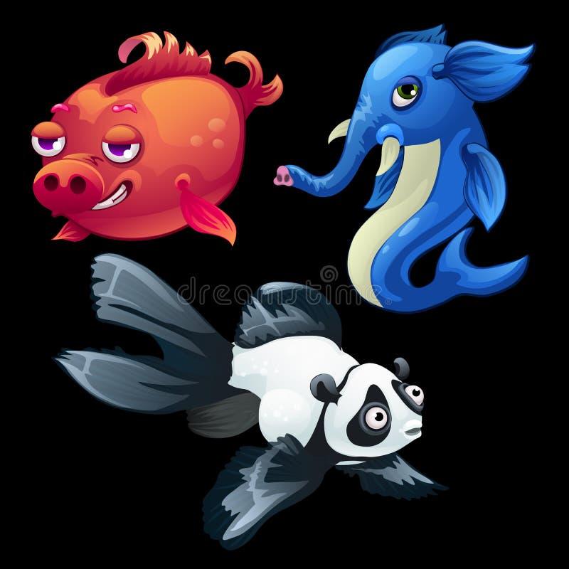 Υβριδικά ζώα και ψάρια, ελέφαντας, Panda, χοίρος απεικόνιση αποθεμάτων