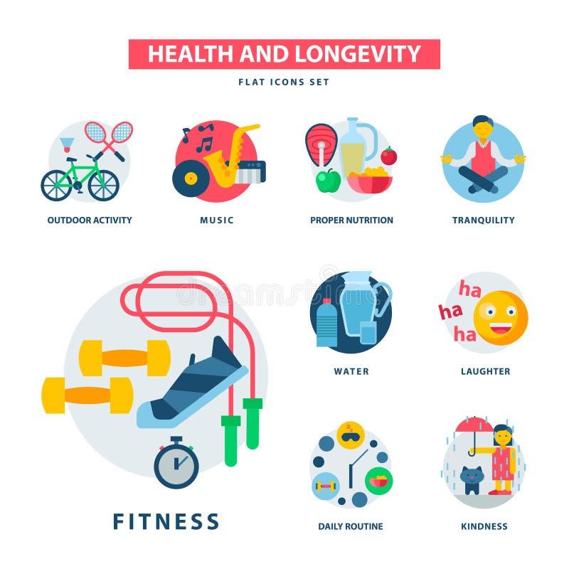 Υγείας και μακροζωίας εικονιδίων σύγχρονη δραστηριότητας απεικόνιση διατροφής τροφίμων προϊόντων ζωής διάρκειας διανυσματική φυσι διανυσματική απεικόνιση