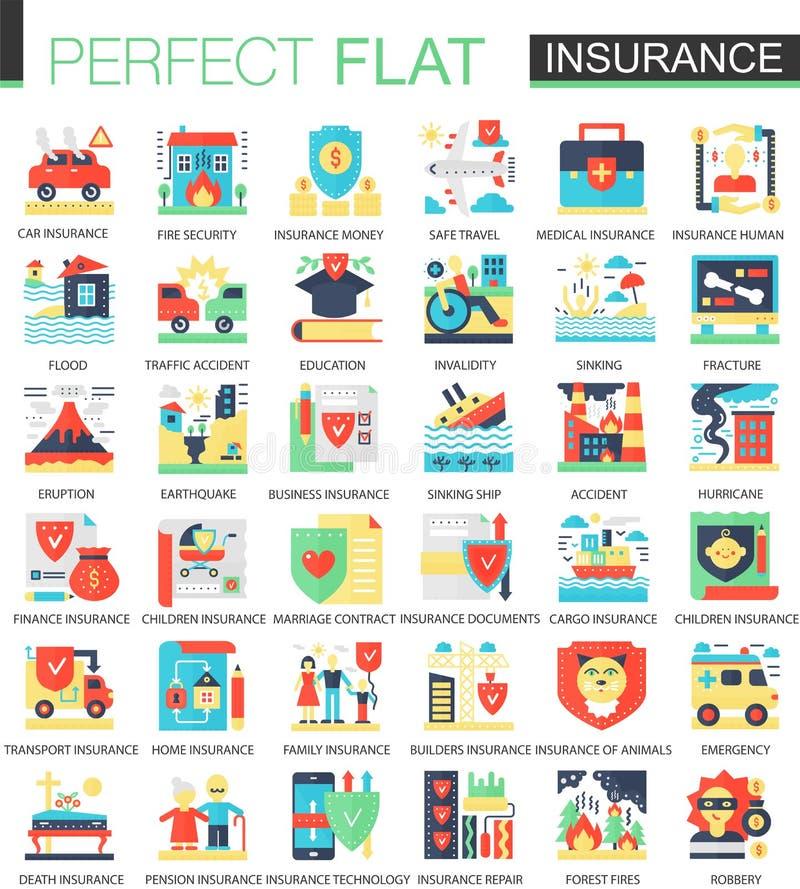 Υγεία, αυτοκίνητο, σύμβολα έννοιας ασφαλιστικών διανυσματικά σύνθετα επίπεδα εικονιδίων σπιτιών για το infographic σχέδιο Ιστού διανυσματική απεικόνιση