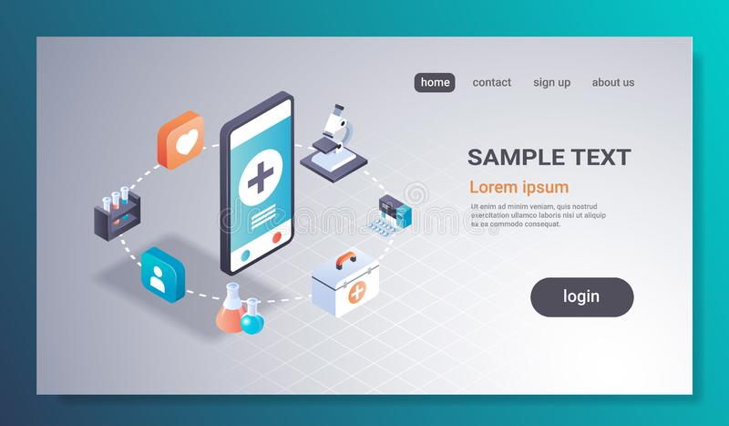 Υγειονομικής περίθαλψης η κινητή ιατρική οθόνης smartphone εργαστηριακής έννοιας εφαρμογής σε απευθείας σύνδεση ιατρική εξετάζει  διανυσματική απεικόνιση