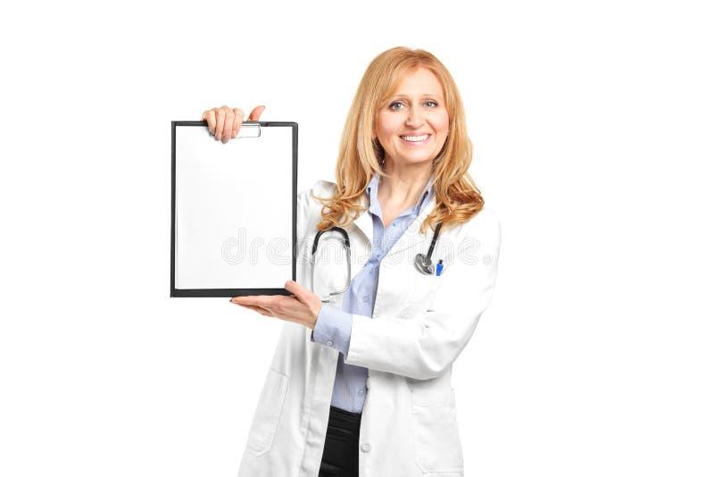 υγειονομική περίθαλψη περιοχών αποκομμάτων που κρατά το επαγγελματικό χαμόγελο στοκ φωτογραφίες