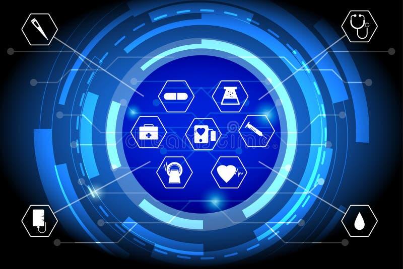 Υγειονομική περίθαλψη στη ψηφιακή εποχή, με υπολογιστή έννοια δικτύων προσοχής διανυσματική απεικόνιση
