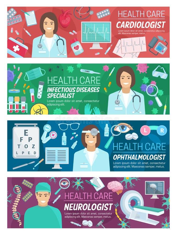 Υγειονομική περίθαλψη baner για το σχέδιο ιατρικής υπηρεσίας ελεύθερη απεικόνιση δικαιώματος