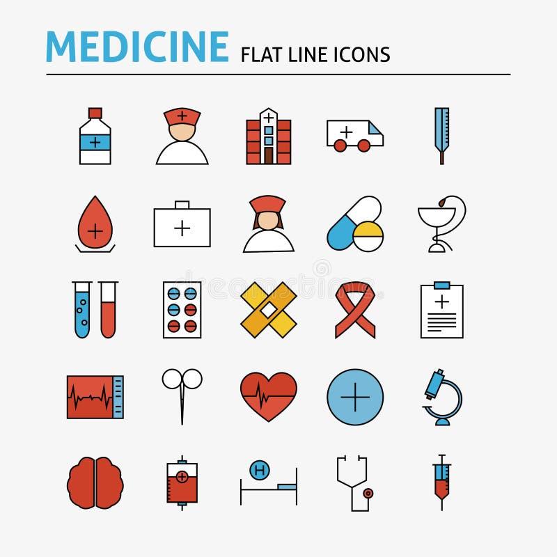 Υγειονομική περίθαλψη και ιατρικά ζωηρόχρωμα επίπεδα εικονίδια γραμμών καθορισμένες απεικόνιση αποθεμάτων