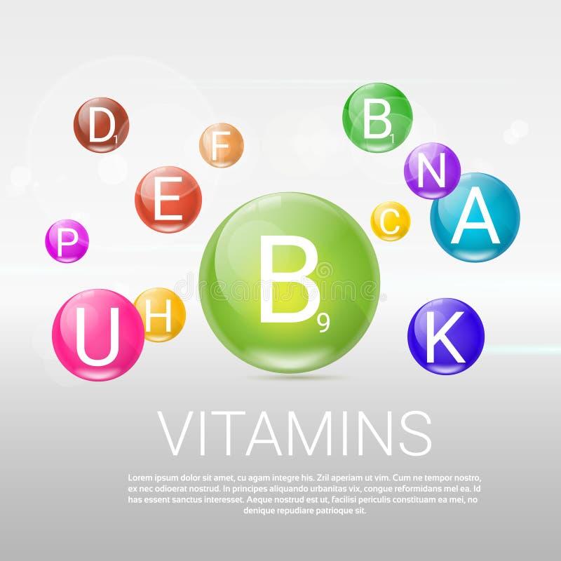 Υγιές έμβλημα ζωής βιταμινών με το διάστημα αντιγράφων ελεύθερη απεικόνιση δικαιώματος