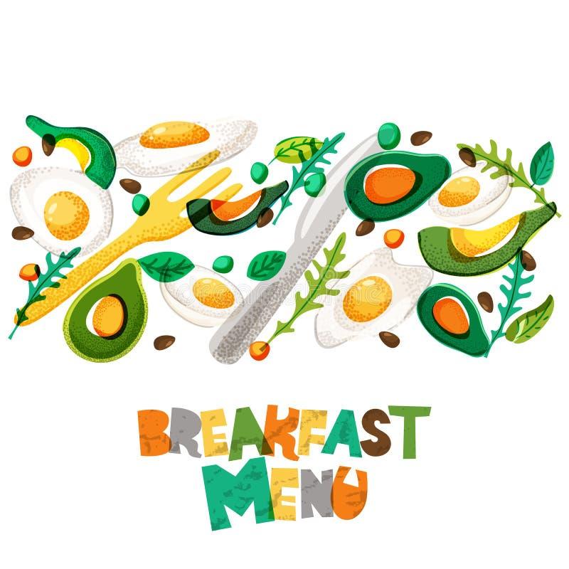 Υγιές γεύμα επιλογών προγευμάτων, σχέδιο Τηγανισμένα και βρασμένα αυγά, αβοκάντο, καρύκευμα, δίκρανο και μαχαίρι ελεύθερη απεικόνιση δικαιώματος