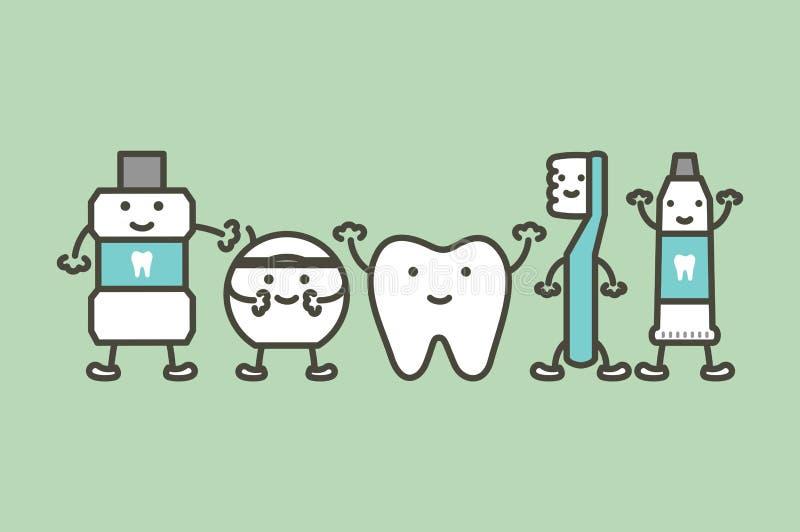 Υγιές δόντι και αστεία οδοντόβουρτσα φίλων, οδοντόπαστα, mouthwash και νήμα, οδοντική έννοια προσοχής διανυσματική απεικόνιση