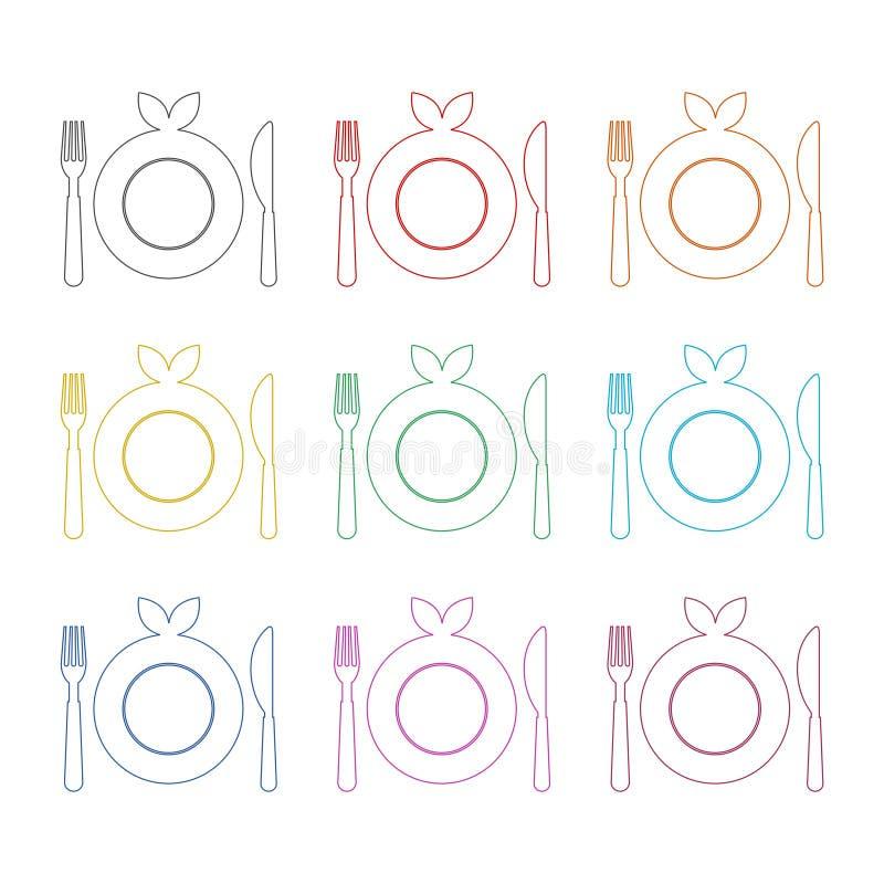 Υγιές εικονίδιο πιάτων τροφίμων, dinning εικονίδιο εστιατορίων επιλογών κουζινών τροφίμων, εικονίδια χρώματος καθορισμένα ελεύθερη απεικόνιση δικαιώματος