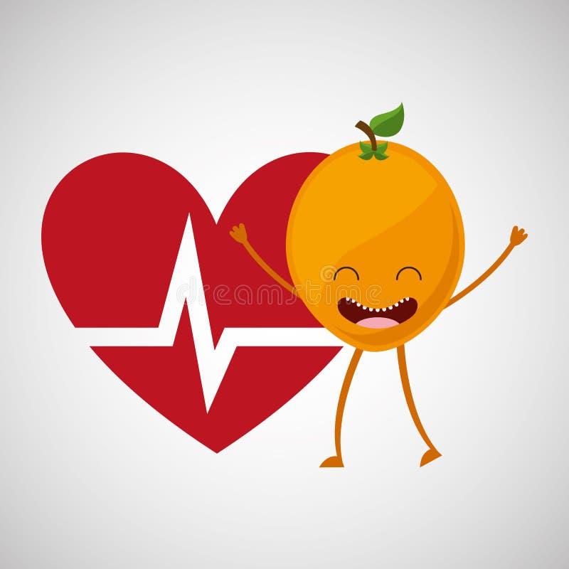 Υγιές εικονίδιο καρδιών κινούμενων σχεδίων φρούτων ελεύθερη απεικόνιση δικαιώματος