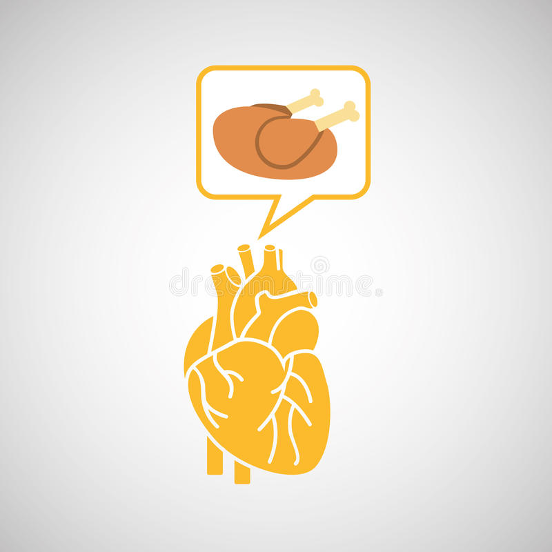 Υγιές εικονίδιο σχεδίου έννοιας κοτόπουλου καρδιών τροφίμων ελεύθερη απεικόνιση δικαιώματος