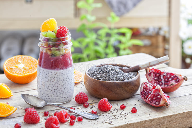 Υγιές επιδόρπιο με τους σπόρους chia στοκ φωτογραφία με δικαίωμα ελεύθερης χρήσης