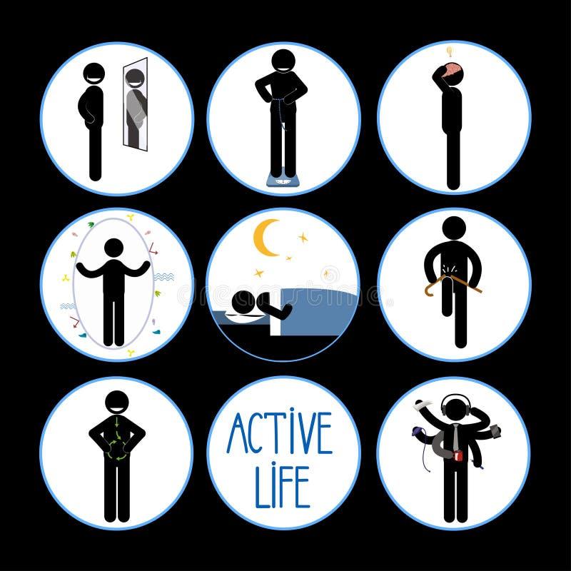 Υγιές και ευτυχές σύνολο ατόμων ραβδιών διανυσματική απεικόνιση