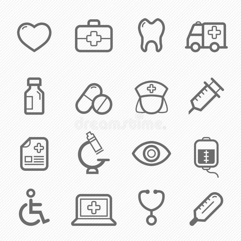 Υγιές και ιατρικό σύνολο εικονιδίων γραμμών συμβόλων διανυσματική απεικόνιση