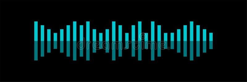 Υγιές κύμα Επίπεδη διανυσματική απεικόνιση έννοιας αναγνώρισης φωνής του υγιούς συμβόλου Φωτεινή φωνή και υγιείς μίμησης γραμμές ελεύθερη απεικόνιση δικαιώματος