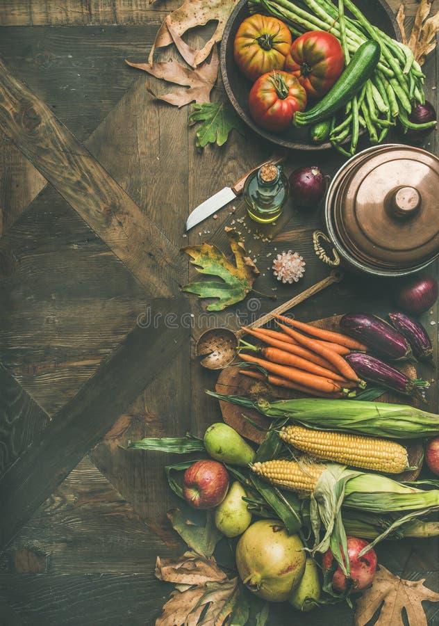 Υγιές μαγειρεύοντας υπόβαθρο πτώσης, διάστημα αντιγράφων στοκ εικόνα