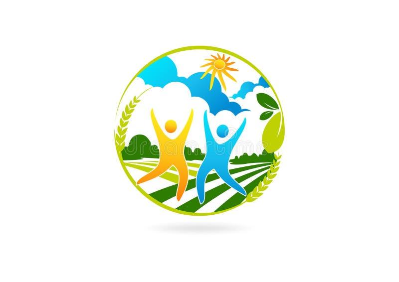 Υγιές λογότυπο ανθρώπων, αγροτικό σύμβολο επιτυχίας, ευτυχή εικονίδιο συνεργασίας φύσης και σχέδιο έννοιας θεραπείας διανυσματική απεικόνιση