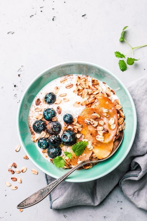 Υγιές πρόγευμα - γιαούρτι, νιφάδες βρωμών, βακκίνια και μήλα στοκ φωτογραφία με δικαίωμα ελεύθερης χρήσης