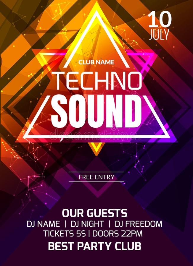Υγιές πρότυπο κομμάτων μουσικής Techno, ιπτάμενο κομμάτων χορού, φυλλάδιο Δημιουργική έμβλημα ή αφίσα λεσχών κόμματος για το DJ ελεύθερη απεικόνιση δικαιώματος