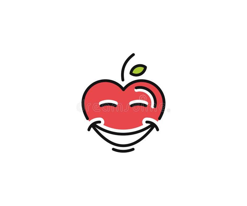 Υγιές πρότυπο λογότυπων καρδιών Ευτυχές διανυσματικό σχέδιο χαρακτήρα καρδιών ελεύθερη απεικόνιση δικαιώματος