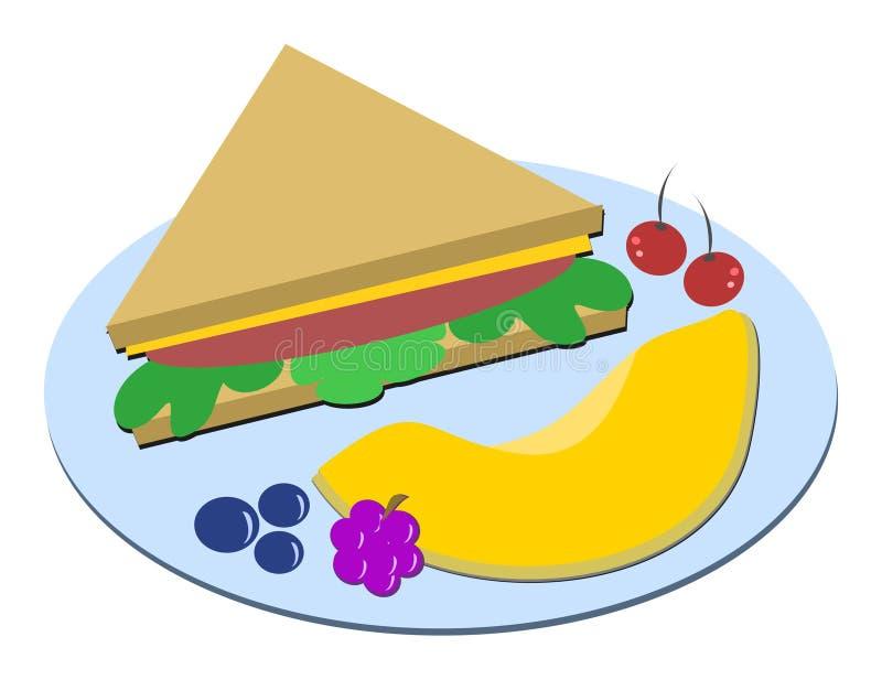 υγιές σάντουιτς γεύματο& διανυσματική απεικόνιση