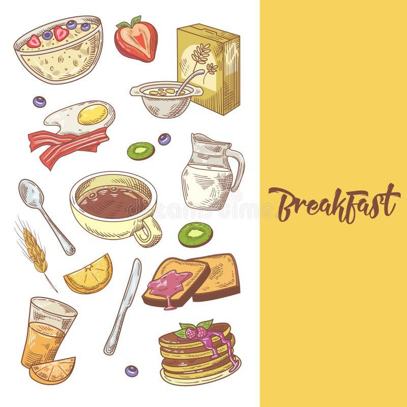 Υγιές συρμένο χέρι σχέδιο προγευμάτων με τις τηγανίτες, τον καφέ και τα δημητριακά Τρόφιμα Eco απεικόνιση αποθεμάτων